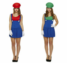 New Ladies Women's Super Workwomen 80s Mario Game Plumber Fancy Dress Costume