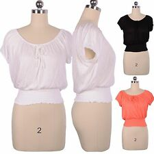 Short Sleeve Shirred Smoked Hem Cropped Top Cute Solid Round Neck Shirt Blouse
