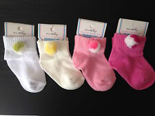 4 pairs BABY GIRL POM POM COTTON SOCKS,NEWBORN 0-3,3-6,6-12 MONTHS