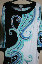 JM Collection Paisley Circus 3/4 Sleeve Printed Embellished Tunic S, M, L, XL