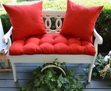 Red Solid Tufted Cushion & Pillow Set for Bench~Swing~Glider, Choose Size