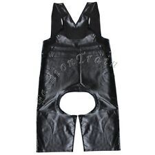 Men's Black Leather Look Swimsuit Leotard Crotchless Underwear Bodysuit Singlet