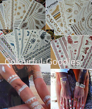 Varieties METALLIC Temporary Tattoo Gold Silver Blue Red bracelet necklace beach
