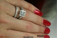 SPARKLING STERLING SILVER PRINCESS CUT CZ ENGAGEMENT RING WEDDING RING SET
