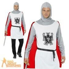 Adult Knight Costume Medieval Crusader Fancy Dress KIng Arthur Outfit New