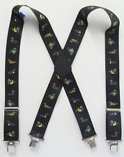 "Heavy Duty 2"" Suspenders, Duck Images 48"" or 54"" Fully Elastic, Strong Clips New"