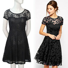 Black Sexy Women Bodycon Evening Party Cocktail Casual Mini Lace Dress Clubwear