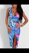 Boutique Celeb Multicoloured Plunge Bodycon Midi Dress Size 14 BNWT SOLD OUT