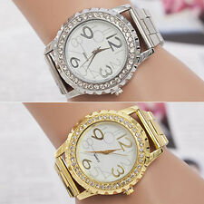Women's Men's Crystal Rhinestone Alloy Stainless Steel Analog Quartz Wrist Watch