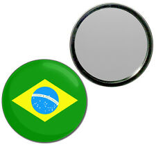 Brazil Flag - Round Compact Glass Mirror 55mm/77mm BadgeBeast