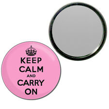 Pink Keep Calm and Carry On - Round Compact Glass Mirror 55mm/77mm BadgeBeast
