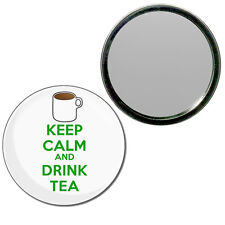 Keep Calm and Drink Tea - Round Compact Glass Mirror 55mm/77mm BadgeBeast