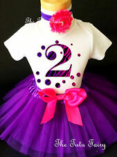 Hot Pink Purple Zebra Polka Dots 2nd Birthday Shirt Party Tutu Outfit Set girl