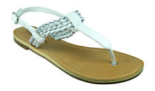 New Womens Soda Sandals Flip Flops Thongs Ankle Strap in White All Sizes