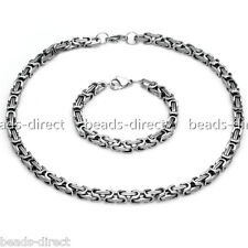 Punk 8MM Byzantine Box Stainless Steel Boys Mens Necklace Bracelet Chain Gift