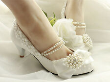Lace Bow Wedding Prom Rhinestone Bridal shoes High Heels Low Heels flat shoes