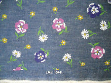 "4+ Yds Denim, Light-Weight, 62"" Wide; Floral Painted Design, Nice soft fabric"
