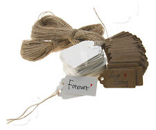 100pcs Brown/White Kraft Paper 4 X 2cm Hang Tags Wedding Label Party Gift Cards