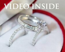 His&Hers Princess Cut Wedding Ring Set Engagement Ring Platinum Made in Italy