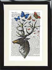 Vintage Stag Deer Antique Dictionary Art Print Picture Book Page Butterfly