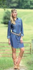 WRANGLER Western Cowgirl Blue Jean Denim Pearl Snap Up Shirt Dress LWD190D NWT