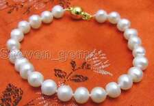 "SALE High luster 6-7mm natural White freshwater Pearl 7.5"" bracelet -bra233_6"