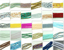 100pcs Rondelle Faceted Crystal Glass Loose Beads 4mm Diy Findings Multicolor
