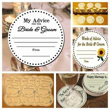 Circle My advice cards for Bride & Groom wedding. 50-100 personalise.