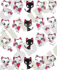 WATER DECALS DECAL CHAT amour EAU AUTOCOLLANTS ONGLES NAIL ART STICKERS TATTOO