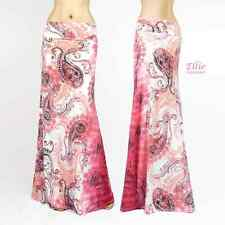 Paisley Floral Pink/white high waist fold over maxi long skirt( S/M/L/X )