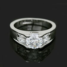 18k White Gold Plated Round Cut Wedding Ring Made With Swarovski Crystal R36