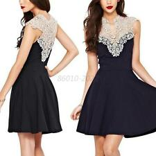 Summer Lady Sexy Floral Lace Sleeveless Casual Cocktail Evening Short Mini Dress