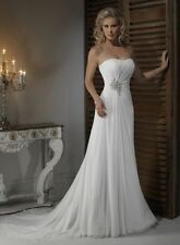 2015 White/Ivory Elegant Chiffon Wedding Dresses Bridal Gown Custom Size 6---16