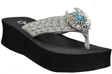 GRAZIE FLIP FLOPS SLIDE SIXSENSE RHINESTONE BLING CROSS SANDALS SHOES SILVER NEW