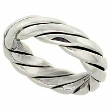 """Sterling Silver Twisted Rope Wedding Ring Solid Back Hevy Handmade 1/4"""" wide"""