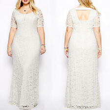 Womens Oversize White Long Formal Evening Gowns Lace Plus Size Prom Dress 2-9XL