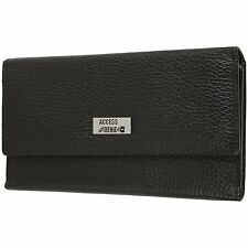 Access Denied RFID Blocking Pebble Leather Clutch Organizer Wallet