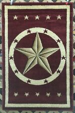 NEW 6X8, 3X7, or 3X4 Red Texas Star Country Western Rustic Cabin Lodge Area Rugs