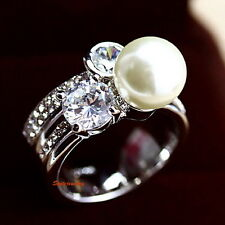 18k White Gold Plated White Pearl Cocktail Ring Made With Swarovski Crystal R146