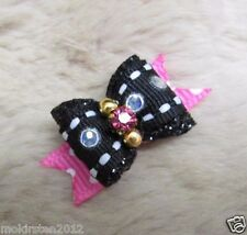 "Mo's USA Dog Bows -3/8"" dog Bow xxs Teacup bling & glitter- Yorkie Puppy+"