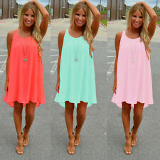 Sexy Women's Summer Casual Sleeveless Evening Party Beach Dress Short Mini Dress