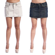 Vintage Womens Sexy Cut Off Denim A Line Skirts Low Waisted Slim Shorts  4-14