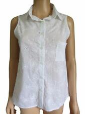 NEW Oasis Ladies White Broderie Anglais Cotton Sleeveless Summer Top Size 10- 18
