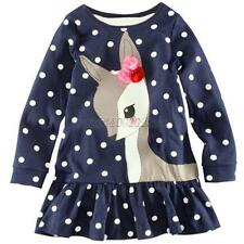Cute Girls One-piece Dots Deer Pleated Cotton Skirts Long Sleeve Lace Dress B68