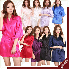 Ladies Satin Robe Dressing Gown Nightwear  Kimono Lingerie Silk Vintage
