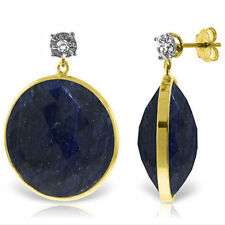 Genuine 46 ctw Sapphire Gemstones & Diamond Dangle Stud Earrings 14K. Solid Gold