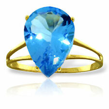 Genuine Blue Topaz Pear Cut Gemstone Solitaire Ring 14K Yellow, White, Rose Gold