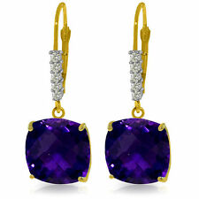 Genuine Amethyst Cushion Cut Gemstones & Diamonds Dangle Earrings 14K Solid Gold