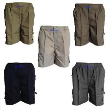 Mens Elasticated Summer Shorts Knee Length Cargo Combat Poly Cotton ZipFly M-3XL