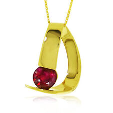 Genuine Red Ruby Gemstone Solitaire  Pendant Necklace 14K Yellow White Rose Gold